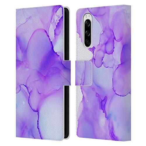 Head Case Designs Oficial Haroulita Pintura Alcohol 3 Tinta Ultra Violeta Carcasa de Cuero Tipo Libro Compatible con Sony Xperia 5