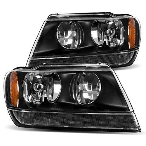 AUTOSAVER88 Headlight Assembly Compatible with 1999 2000 2001 2002 2003 2004 Jeep Grand Cherokee,OE Headlamp Black Housing