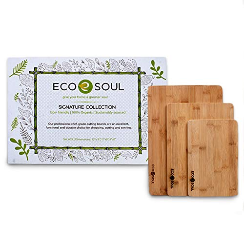 ECO SOUL Bamboo Cutting Boards For Kitchen | Chopping & Butcher Block | Meat, Vegetables, Cheese & Charcuterie Board | Non-Slip, Durable, USDA Certified (3 Set)