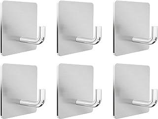 壁掛けフック Ninonly 強力6個入り 粘着フック 90度フック部設計 ステンレス製 高耐荷重 壁を傷つけない キッチン/玄関/洗面所/オフィス用 フック