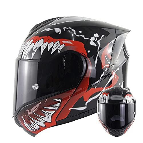 LHP Casco Modular para Motocicleta Casco Integral Dot/ECE Homologado Cascos Moto integrales para Mujer Hombre Adultos con Doble Visera (Color : Red A, Size : XXXX-Large 65-66cm)
