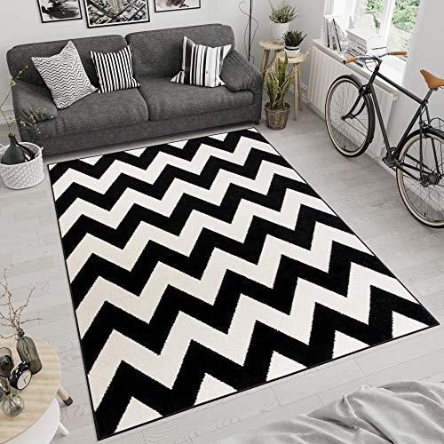 Tapiso MAROKO Teppich Wohnzimmer Schlafzimmer Modern Kurzflor Geometrisch Zick Zack Streifen Gestreift Schwarz Creme ÖKOTEX 120 x 170 cm