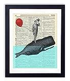 A Whale Of A Good Time - Whale Poster Whale Prints Wall Art Home & Bathroom Decor Nursery Decor Upcycled Vintage Dictionary Art Print 8x10