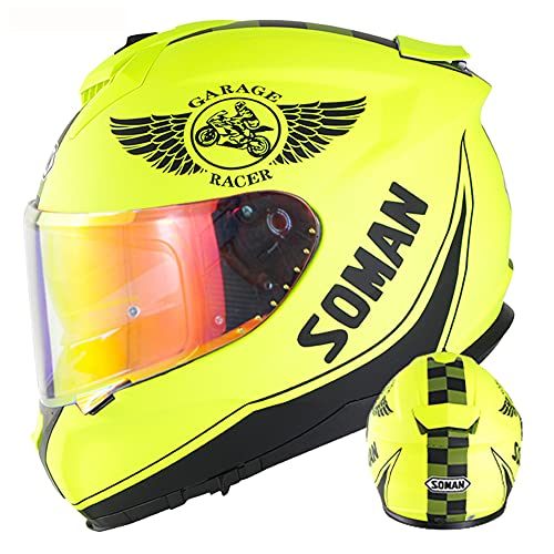 WEW Casco Integral de Moto Cascos de ciclomotor de Scooter para Adulto de Doble Lente Amarillo Mate Casco Protector Casco de cercanías para Hombres & Mujeres · Certificado ECE,B,61~62cm XL