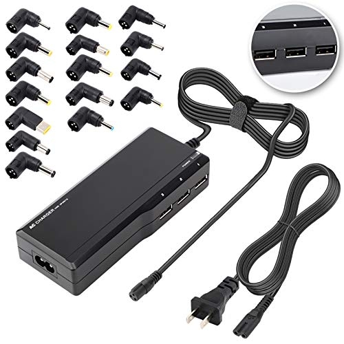 90w Universal Laptop Charger, Computer Charger with 3 USB Ports 16 Tips Ac Power Adapter for Hp Compaq Dell Acer Asus Lenovo IBM Toshiba Samsung Sony Fujitsu Gateway Notebook Ultrabook