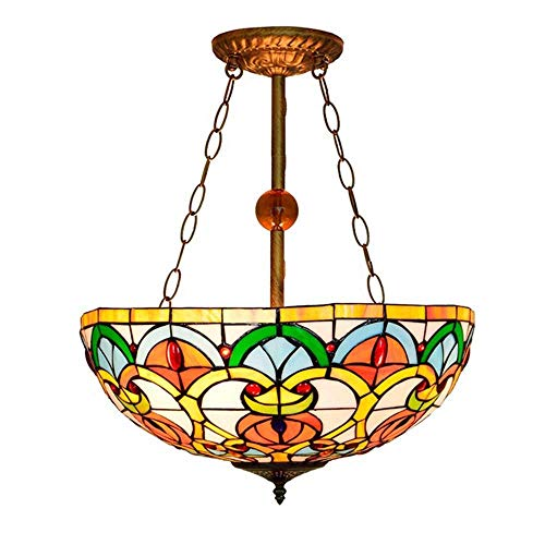 BJClight Classic Deckenleuchte im Tiffany-Stil, 8 Zoll farbiger Glaslampenschirm Pendelleuchte für dekorative Veranda Gang Korridor Mini Kronleuchter, E27, A.