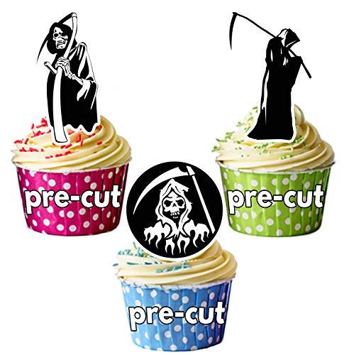 Vorgeschnittene Halloween Sensenmänner - Essbare Cupcake Topper / Kuchendekorationen (12 Stück)