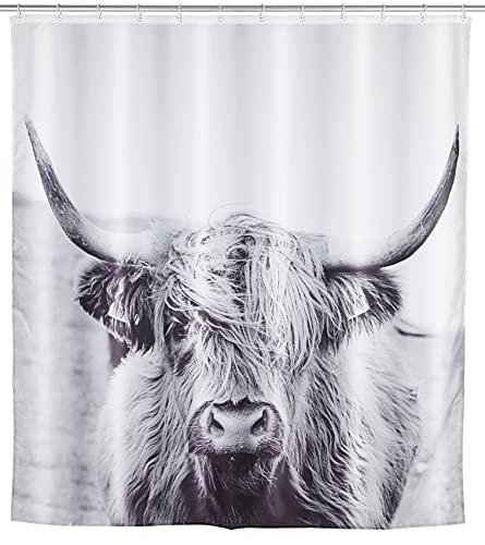 WENKO Duschvorhang Yak, Textil-Vorhang wasserabweisend, waschbar, mit 12 Duschvorhangringen, Polyester, Weiß, 180 x 0 x 200 cm