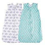 Saco de Dormir para bebé, 2 Unidades de Manta portátil, Verano (Menta/Elefante) Verde Mint/Elefante Talla:6-12 Meses