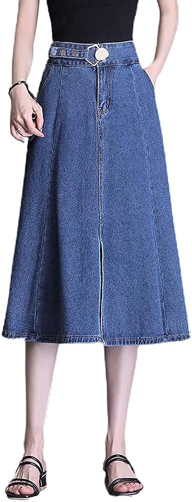 chouyatou Women's Adjustable Waist A-Line Flare Midi Long Denim Skirt with Split