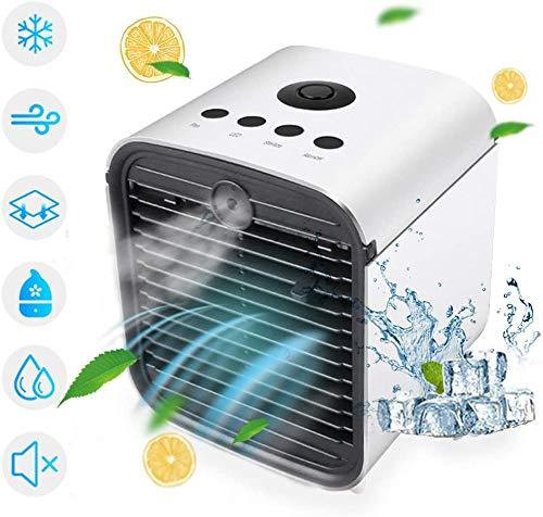 YaoLAN Mini-airco, draagbaar, 3-in-1 aircooler luchtbevochtiger en luchtreiniger met 7 kleuren, 3 snelheden, 375 ml capaciteit voor slaapkamer, woonkamer, kantoor en reizen