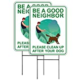 Clean Up After Your Dog Signs (2 Pack, 9 x 12) with Metal H-Stakes, Double Sided,No Dog Poop Lawn Signs,Outdoor & Sturdy