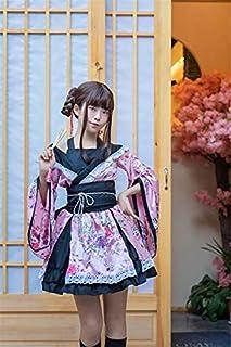 女童日本洛丽塔萨斯裙复古花朵印花荷叶边和服睡袍 L 点击粉色1进行