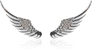 StoreNO12345 - Alloy Metal Car Decoration 3D Angel Wings Window Bumper Body Badge Emblem Sticker Decal For Ford For Toyota For Nissan Vw Kia (Silver)