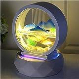 Kit de la creatividad de mesa fuente de agua de pequeña pecera acuario redondo de cristal blanca cubierta de escritorio de oficina Decoración Cascada ( Color : Mountain View , Size : 35 x 35 x 45 cm )