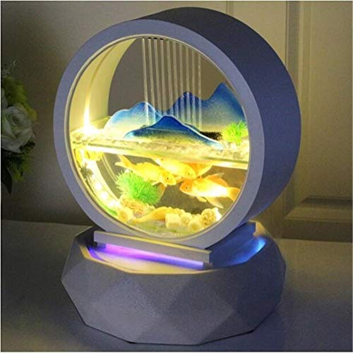 ZANGAO Kreativität Table Top-Wasser-Brunnen Kleiner Fisch-Behälter-rundes weißes Glas Aquarium Innen Office Desktop Dekoration Wasserfall Kit (Color : Mountain View, Size : 23 x 23 x 35 cm)