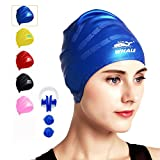Swim Cap for Long Hair,Waterproof Silicone Swimming Caps for Women Men Kids Child