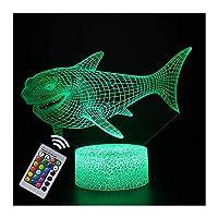 デスクランプ クリエイティブでカラフルな3DイリュージョンLEDナイトランプ クラゲシリーズの装飾常夜灯 海の動物のパーティーの雰囲気の光 リモートで16色が変わる USB装飾ベッドサイドテーブルランプ-R