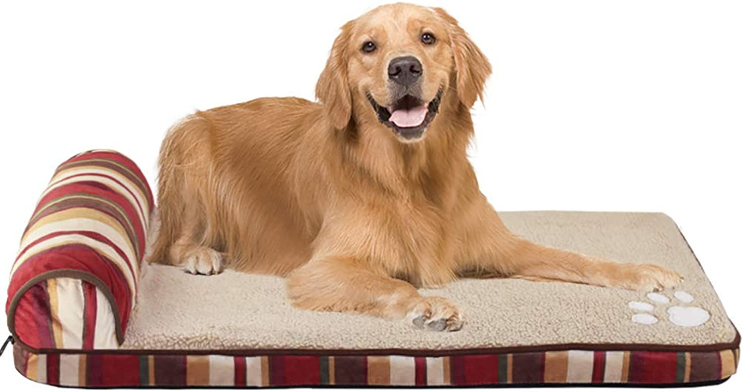 Dog Bed Large Orthopedic Foam Dog Bed Mat,Durable Water Proof Liner and Washable Detachable Mattress Pillow,C,L