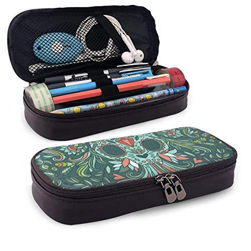 Make-Up-Tasche,Mäppchen,Storage Bag,Federmappe,Pvc Pencil Case,Calaveras Katzenschädel Mit Blumen-Pu-Leder-Bleistift-Stiftsack-Taschenetui-Halter