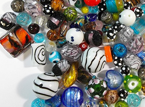 POSTEN PERLEN Glas GLASPERLEN Beads 500g Fancy SILBERFOLIE Mix LAMPWORK NEU R84