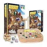 OMKMNOE Kit de excavación de piedras preciosas de cristal, con 15 piedras preciosas auténticas mega kit de ciencia para niños educativo, amarillo
