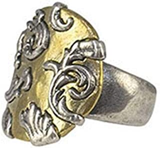 Waxing Poetic Allegro Sterling Silver and Brass Open Band Statement Ring