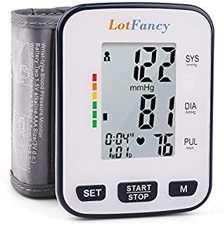 """Wrist Blood Pressure Monitor by LotFancy, 2 User Mode, 5.3"""" - 8.5"""" Cuff, FDA Approved, Case Included"""