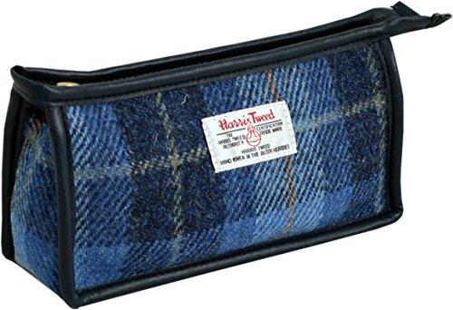 Vagabond Bags Harris Tweed Blue Check Gusset Bag Trousse de toilette, 20 cm, Bleu (Mid Blue)