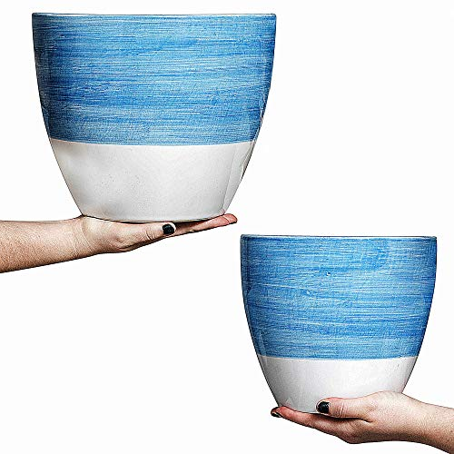 Hash & Mash Premium 10' & 8' Ceramic Planter (Set of 2) - Large Ceramic Pots for Plants - Flower Plant Pots with Drainage Holes & Plugs (10 Inch & 8 Inch Planter Set, Blue, White)