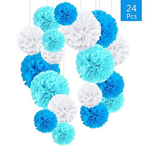 O-Kinee 24er Blau Deko Seidenpapier Pompons für Hochzeit, Taufe Junge, Geburtstag, Party, Baby Shower Baby-Duschen Graduierung Konfirmation Junge weiß blau
