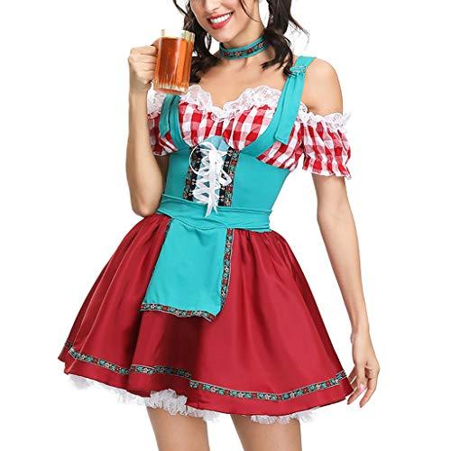 Damen Pieces Dirndl Dress Abendkleid Bayerische Midi Trachten Damen Dirndl Set Kurzarm Dirndlbluse Oktoberfest KostüMe Karneval Dirndl-Komplettsets Traditionelle Bekleidung Arbeitskleidung