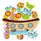 Schimer Tiere Balance Spiel Spielzeug, Balancier Arche Konzentrationsspiel der Arche Noah aus Holz Lernspiel Motorikspielzeug, Balancierspiel mit Würfel Stapel Bausteine für Kinder ab 3 Jahren
