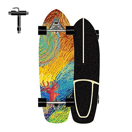 ZBYL Skateboard Retro Monopatín Completo para Principiantes y Adultos CX7 Surfskate Cruiser Skateboards para Niño Niña, 7 Capas de Madera de Arce, rodamientos ABEC-7, Rueda de 78A, Herramienta T