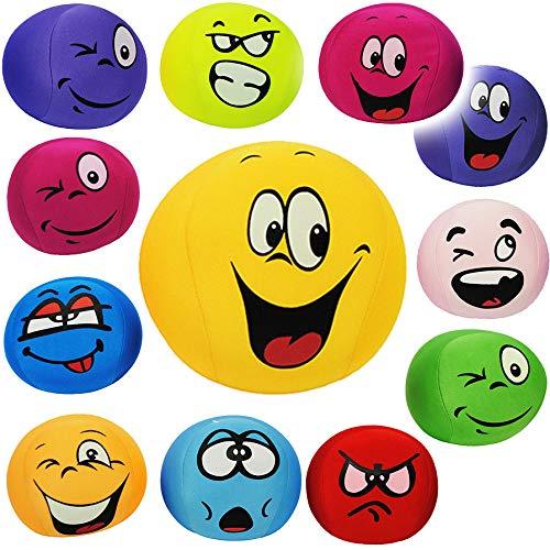 alles-meine.de GmbH 1 Stück _ große Knautschkissen / Knautschball - lustiges Gesicht - BUNT - 15 cm - Emoticon Ball / Zenball - Plüschtier Softball / Stoffball - mit...
