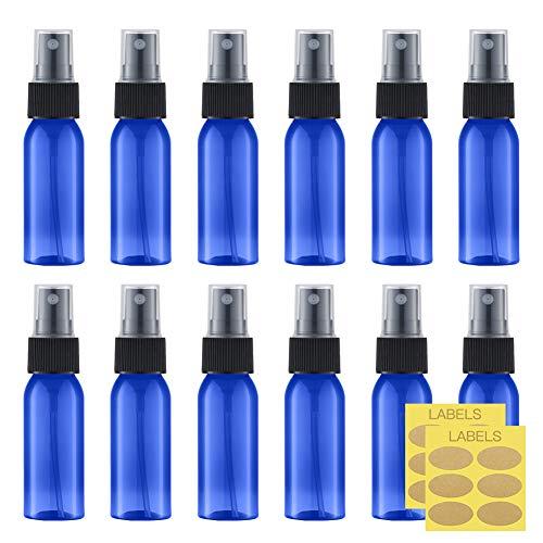 Toureal 30ML Bleu Flacon Spray Vide (12 Pièces) Vaporisateur Parfum, Bouteille Rechargeable de Voyage, Pulvérisateur Atomiseur pour Cosmétique