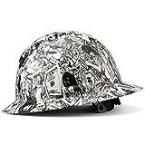 Full Brim Hard Hat Construction OSHA Hardhats, Men Women Safety Helmet, 6 Point, Custom Tattoo Design, By ACERPAL, Money And Honeys, White Hat