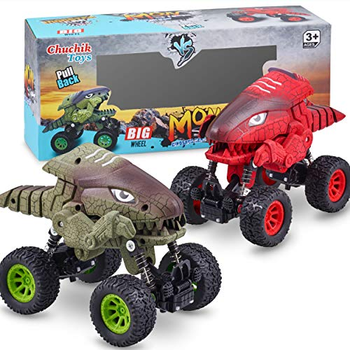 CHUCHIK Dinosaurs Pull Back Car Toy New Model Dinosaur Toys Vehicles for Kids and Toddlers Dino Cars Monster Trucks are a for Boys and Girls 2 3 4 5 6 Year Old (Red-Green)
