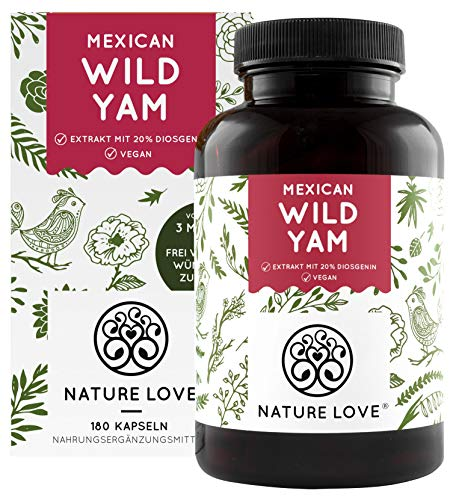 NATURE LOVE® Wild Yam Kapseln - Vergleichssieger 2020* - Original Mexican Wild Yamswurzel - Hochdosiert mit 880mg Extrakt (davon 176mg Diosgenin) je Tagesdosis - 180 vegane Kapseln - Made in Germany