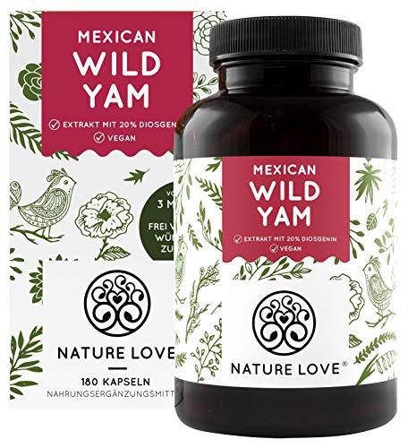 NATURE LOVE® Wild Yam Kapseln - Premium: Original Mexican Wild Yamswurzel - Hochdosiert mit 880mg laborgeprüftem Extrakt (davon 176mg Diosgenin) je Tagesdosis - 180 vegane Kapseln - Made in Germany
