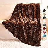 Yusoki Brown Throw Blanket 50' x 60' Shaggy Velvet Microfiber Blanket Cozy Furry Comfy Blanket for Chair Living Room Home Decor Men Boys Dogs Cats Washable(Brown, Throw50 x 60')