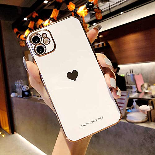 Cute Love Heart Phone Case para iPhone 12 Pro 11 Pro MAX X XR XS MAX 7 8 Plus SE 2020 Cubierta Trasera de TPU Suave con Revestimiento de Lujo, w, para iPhone 12