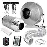iPower 6 Inch Air Carbon Filter 25 Feet Ducting 442 CFM Inline Fan Combo with Variable Speed Controller Rope Hanger and Humidity Monitor for Grow Tent Ventilation, Silver