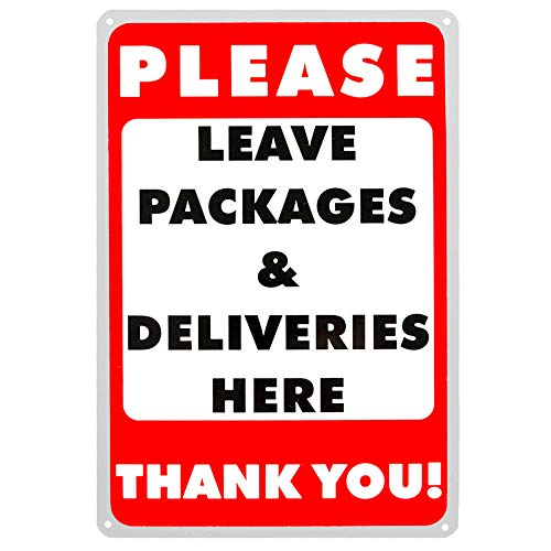 Please Leave Packages and Deliveries Here Sign - 8'' x 12'' Leave Packages Here Sign Aluminum Delivery Sign - Weather Resistant, Rust Resistant, UV Resistant Small Delivery Sign for Door & Porch