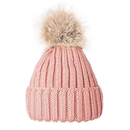 Gorro de lana con pompón, cálido, para invierno, para mujeres rosa Rosa