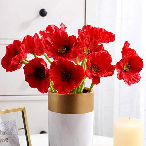 Wyi 20 tallos de amapolas rojas artificiales de tacto real de PU amapolas decorativas para bodas, vacaciones, ramo de novia, decoración para el hogar o fiesta