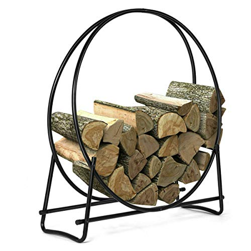 n-bright shop Steel Fireplace Log Hoop Firewood Storage for Fire Wood Rack Holder Tubular Display Indoor, Outdoor, Patio 40 Inch