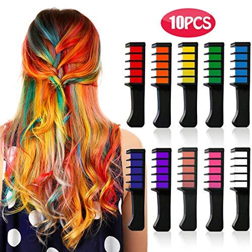 Kyerivs Haarkreide kamm, temporäre haarfarbe kinder, Mädchen, Partys und Cosplay, DIY Festival, für alle Haarfarben Kleid bis für Mädchen Geschenk waschbar 10 Stück