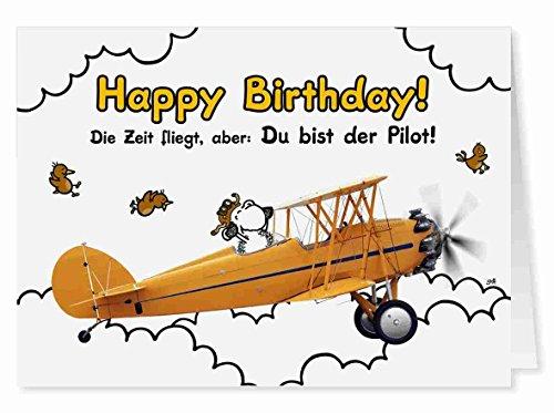 65 - Geburtstags Flieger - Midi-Grußkarte von Sheepworld