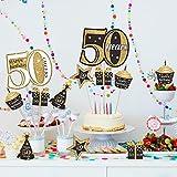 Blulu Geburtstag Party Dekoration Set Goldene Geburtstagsparty Herzstück Sticks Glitter Tischdekoration für. Geburtstagsparty Lieferungen, 24 Packungen (50 Jahre Geburtstag) - 6